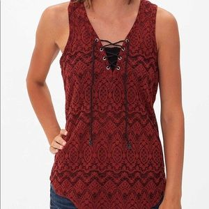 BKE Red Jacquard Tank Top